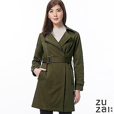 zuzai 自在卓絕長版防水保暖風衣-女-深綠色