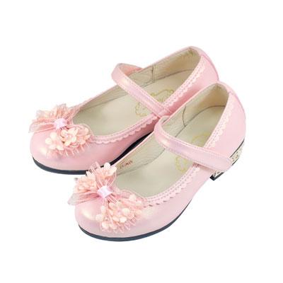Swan天鵝童鞋-小花網紗蝴蝶結珠光低跟公主鞋 3825-粉