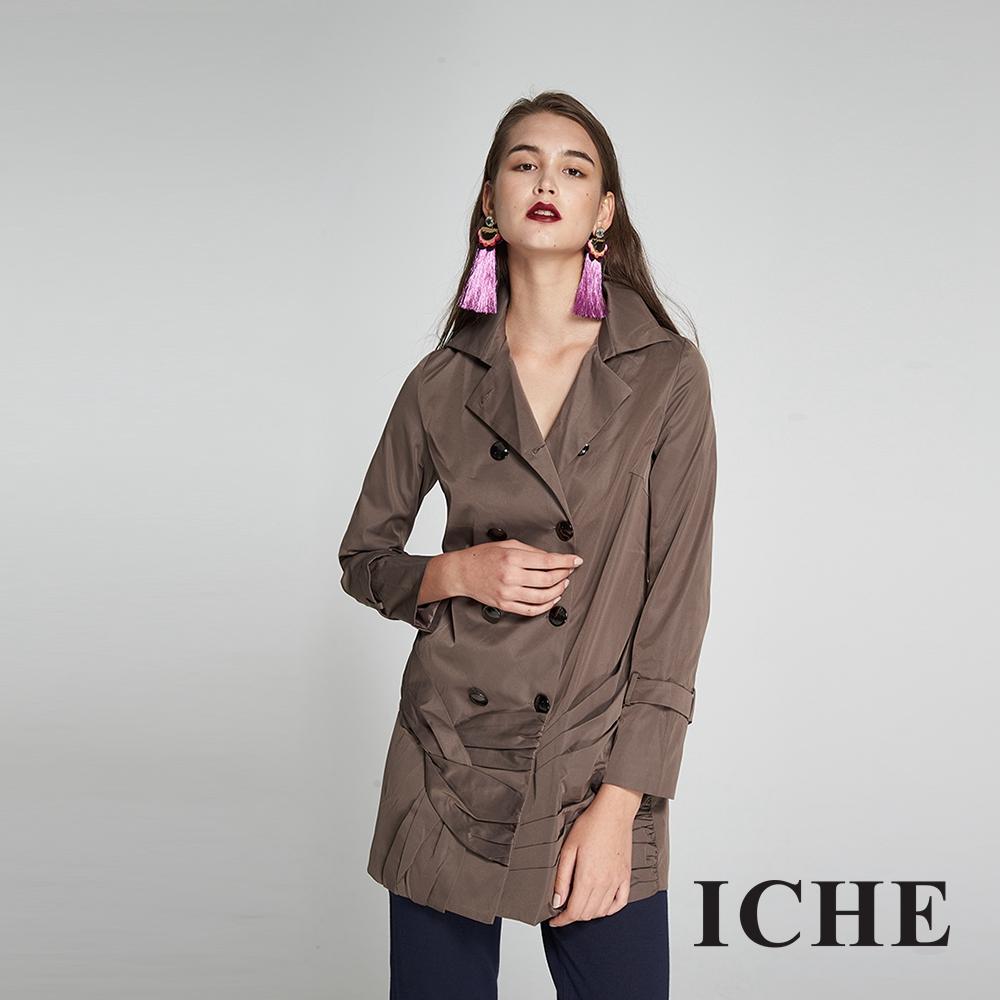 ICHE衣哲 設計造型款防風雙排釦長版風衣外套(兩色)-咖