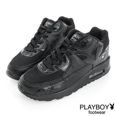 PLAYBOY 時髦革命 可愛色系慢跑運動鞋-黑(女)
