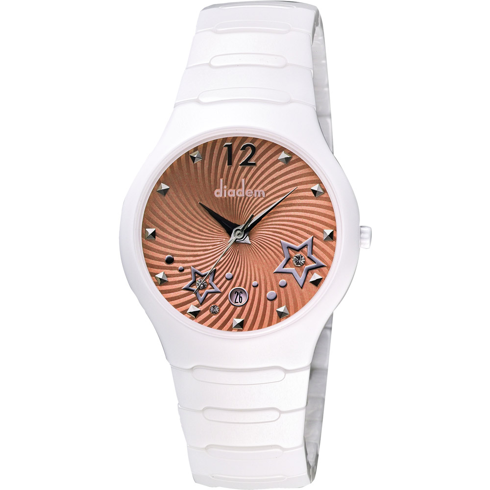 Diadem 黛亞登 甜蜜星空時尚白陶瓷腕錶-橘/36mm
