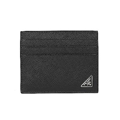 PRADA  SAFFIANO 三角金屬LOGO名片夾(黑色)