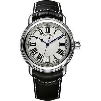AEROWATCH 經典扭索時尚腕錶-銀x黑/40mm