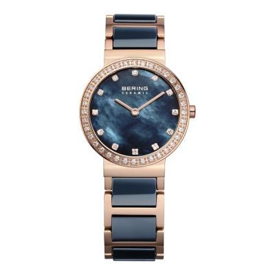 BERING 晶鑽刻度陶瓷錶系列 珍珠母貝錶盤 北歐藍x玫瑰金29mm