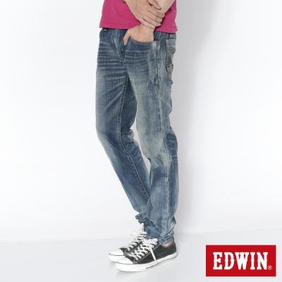 EDWIN-視覺刷色-B-T皮剪接純棉窄直筒褲-男