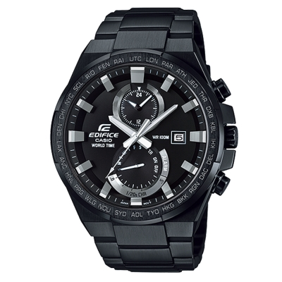 EDIFICE 剛毅外型線條日期窗指針腕錶(EFR-542BK-1)-黑離子IP/46.4mm