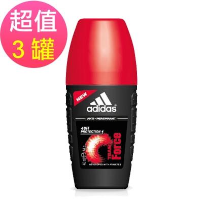adidas愛迪達 男用制汗香體滾珠(典藏魅力)x3罐(40ml/罐)