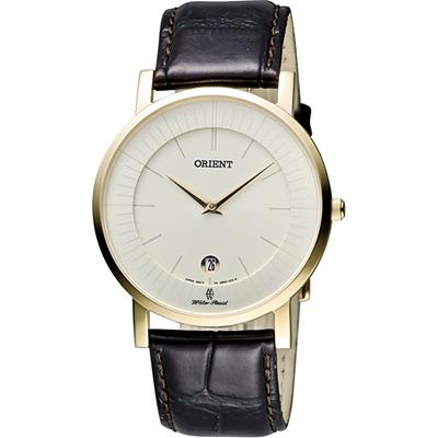 ORIENT 東方錶 SLIM系列 超薄簡約石英錶-金框x咖啡/38mm