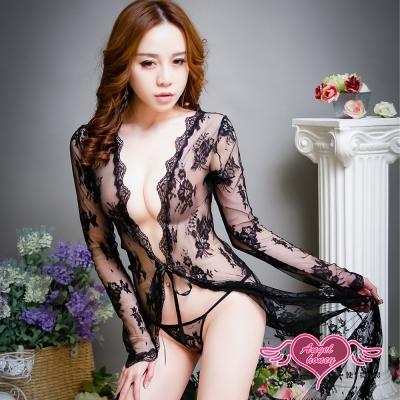 罩衫 暗夜女神 蕾絲薄透長版罩衫(黑F) AngelHoney天使霓裳
