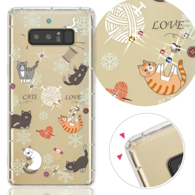 YOURS三星Galaxy Note8奧地利彩鑽防摔手機殼-懶懶貓