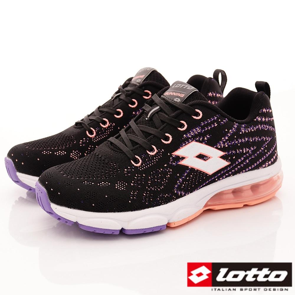 Lotto樂得-編織氣墊跑鞋-8AWRSI592黑珊瑚橘(女段)