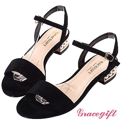 Grace gift-絨布珍珠鑲金一字涼鞋 黑