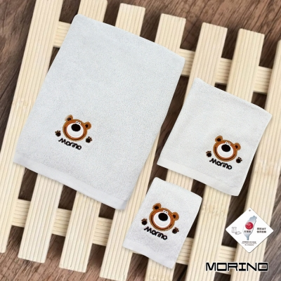 純棉素色動物刺繡方毛浴巾 淺灰熊(超值3條組) MORINO