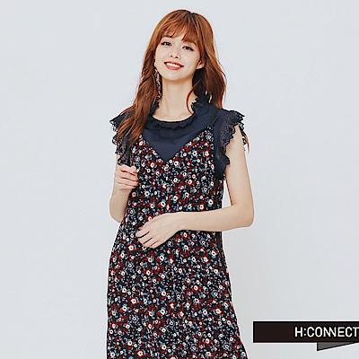 H:CONNECT 韓國品牌 女裝-滿版印花細肩連身長褲-黑 - 動態show