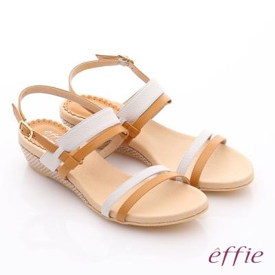 effie 個性涼夏 真皮雙條帶小坡跟涼鞋 茶色