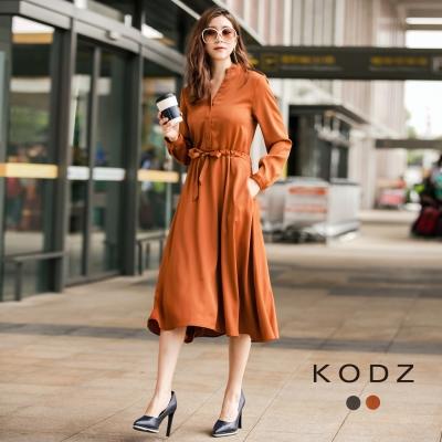東京著衣-KODZ-歐美復古時髦排釦設計長洋裝