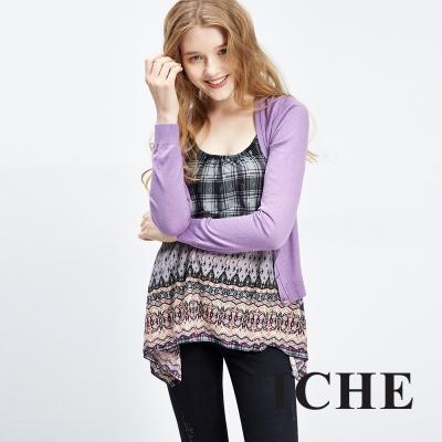 Chaber巧帛 百搭簡約羊毛紫短版針織外套 兩色