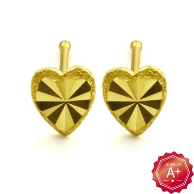 A+黃金 閃亮桃心 黃金耳環