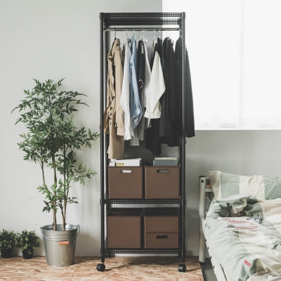 完美主義 單桿衣櫥/附輪/鐵力士(2色可選)-60X45X180cm