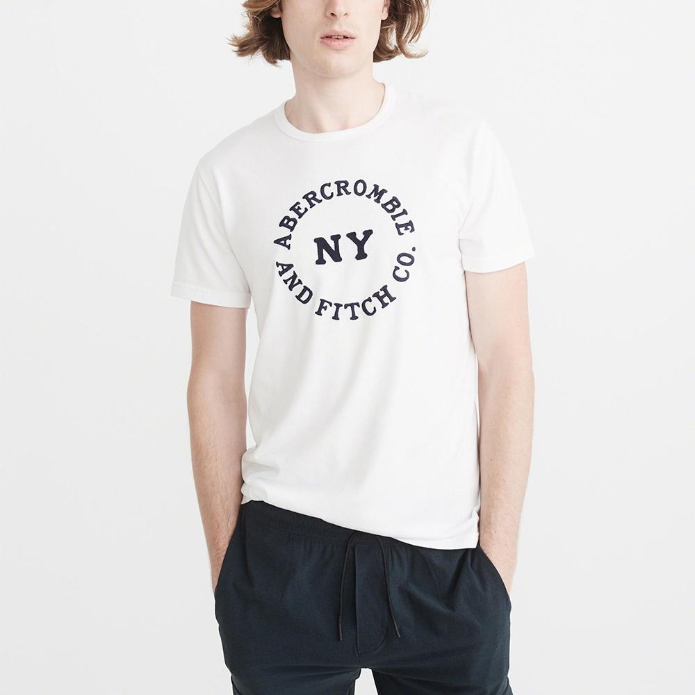 A&F 經典NY刺繡文字短袖T恤-白色 AF Abercrombie