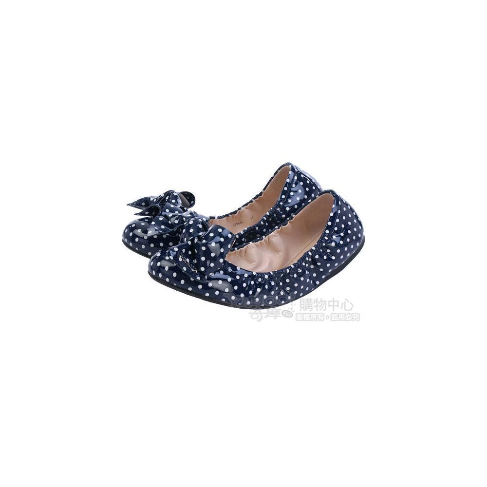 PRADA Vern Soft St.P 深藍色點點漆亮小牛皮芭蕾舞鞋