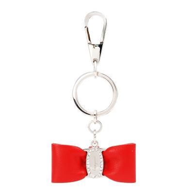 Salvatore Ferragamo 蝴蝶結金屬LOGO鑲水鑽鑰匙圈吊飾(紅)