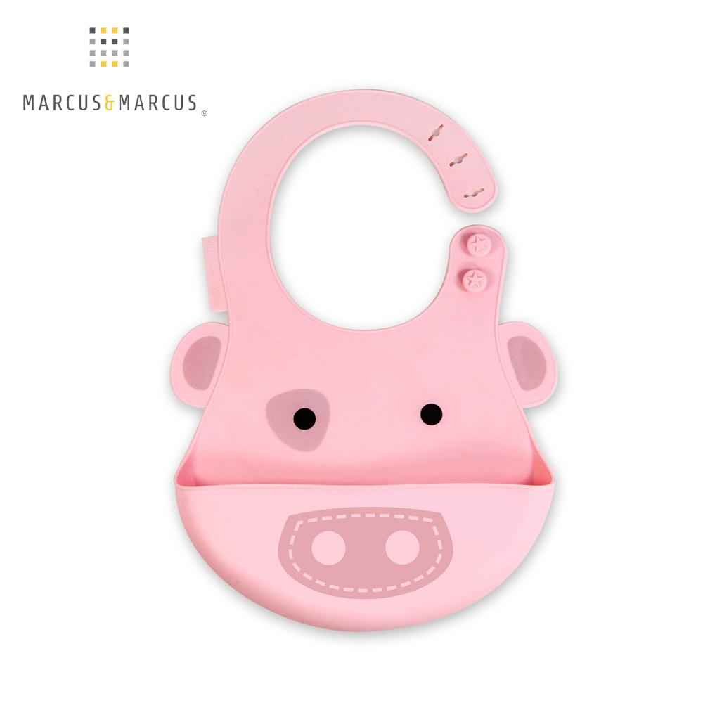 加拿大 MARCUS&MARCUS 動物樂園矽膠立體圍兜(粉紅豬)