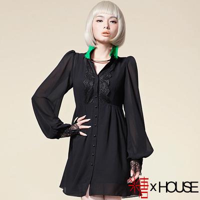 心機蕾絲露背雪紡襯衫式洋裝 (共二色)-糖 x House