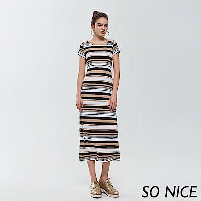 SO NICE休閒撞色條紋長洋裝