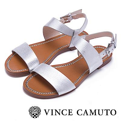 Vince Camuto 渡假休閒素色一字平底涼鞋-銀色
