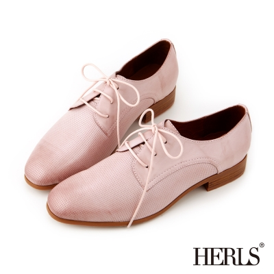 HERLS 全真皮經典雋永 復古壓紋德比鞋-淺粉