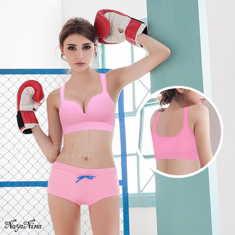 運動內衣 無鋼圈 深U美胸運動BRA內衣M-XL(粉紅) Naya Nina