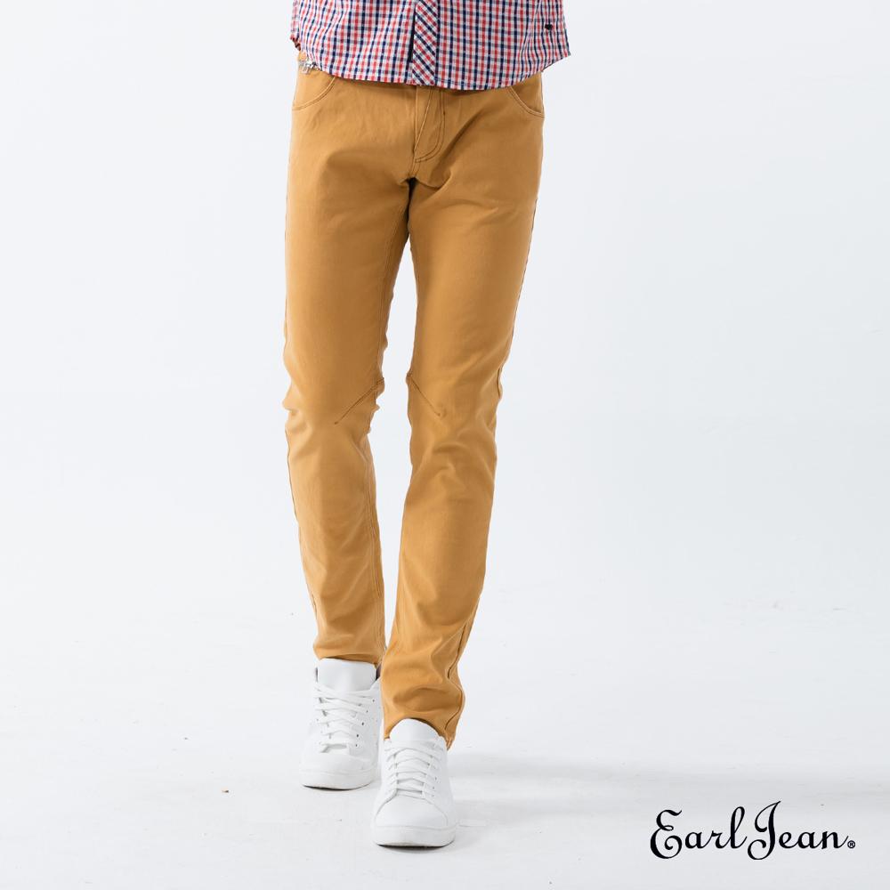 Earl Jean超輕磨毛窄管鵝黃休閒褲-黃-男