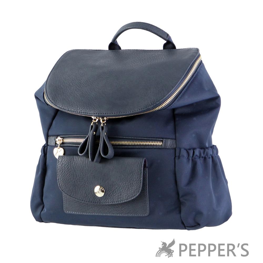 PEPPER`S 天馬包 胡椒翻蓋底紋後背包-神秘藍