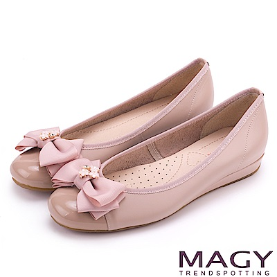 MAGY 甜美舒適優雅 細緻水晶花朵平底娃娃鞋-粉紅