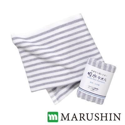日本丸真 泉州製超吸水加大毛巾-橫紋/灰