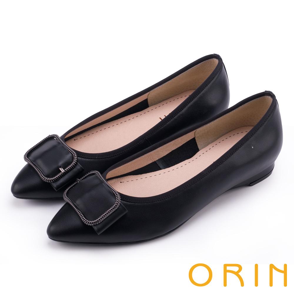 ORIN 優雅輕熟 全真皮造型方釦尖頭低跟鞋-黑色