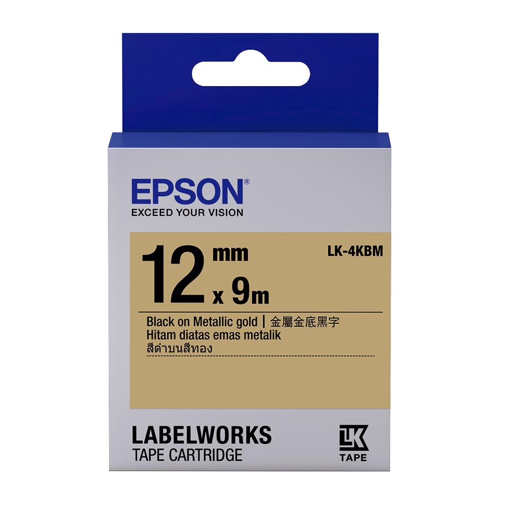 EPSON C53S654422 LK-4KBM金銀系列金底黑字標籤帶(寬度12mm)