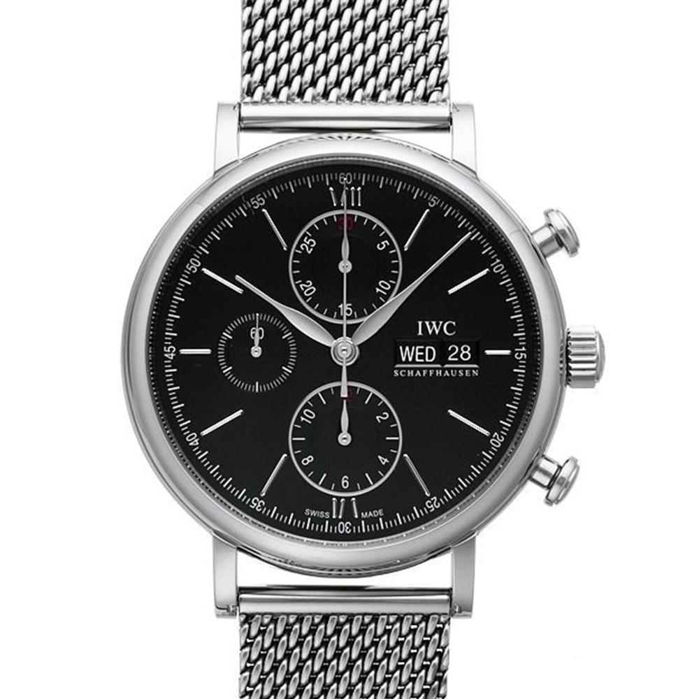 IWC 萬國錶 Portofino IW391010 柏濤菲諾自動黑面計時米蘭帶腕錶-42mm