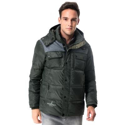 【hilltop山頂鳥】男款超撥水保暖蓄熱羽絨短大衣F22MU4綠