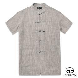 GIBBON 經典木紋感短袖唐裝‧檀木紅M~3L