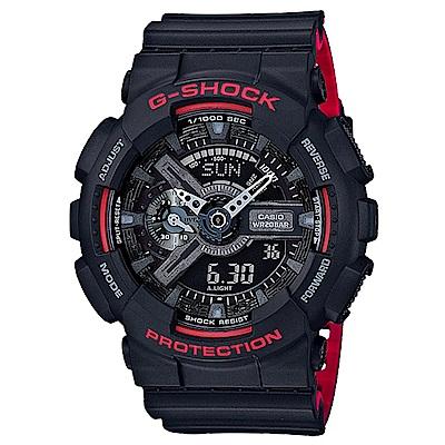 G-SHOCK重機裝置紅黑騎士精神休閒運動錶(GA-110HR-1A)紅黑雙色/51.2m