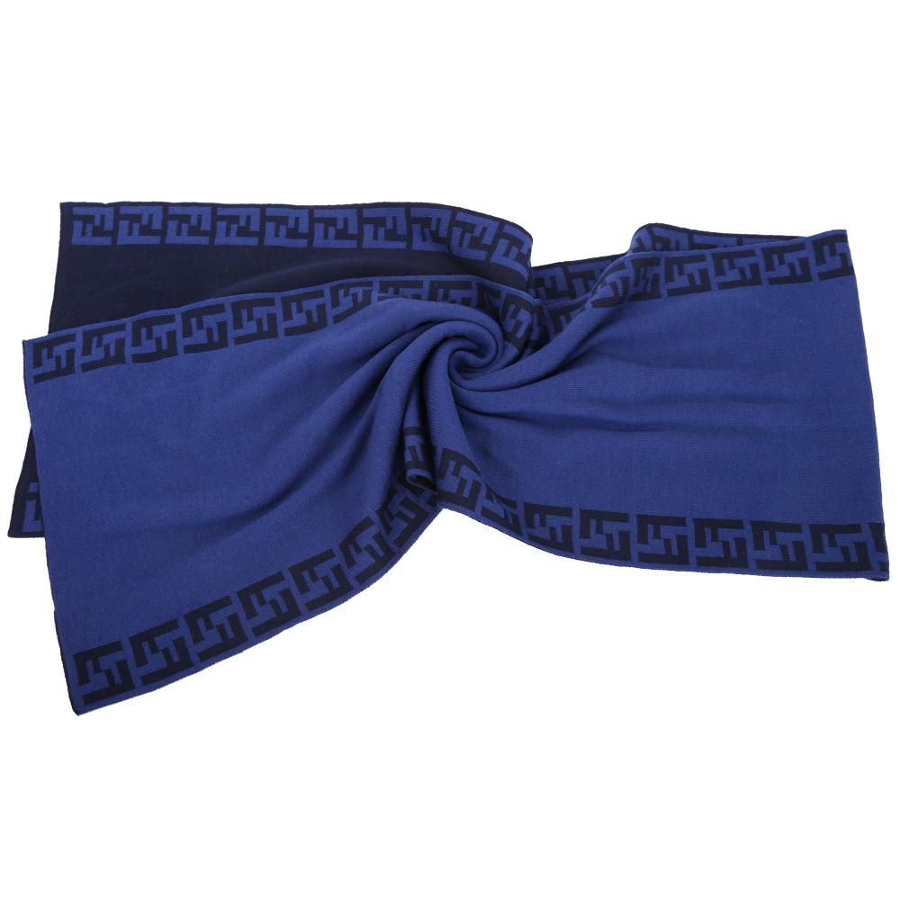 FENDI 藍色雙F織紋滾邊羊毛圍巾(100%WOOL)