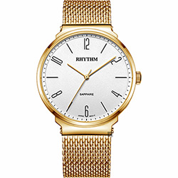 RHYTHM 日本麗聲 日系潮流米蘭帶手錶-白x金/41mm