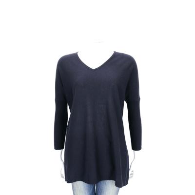 Max Mara-WEEKEND 深藍色側開叉V領羊毛針織上衣(40%WOOL)