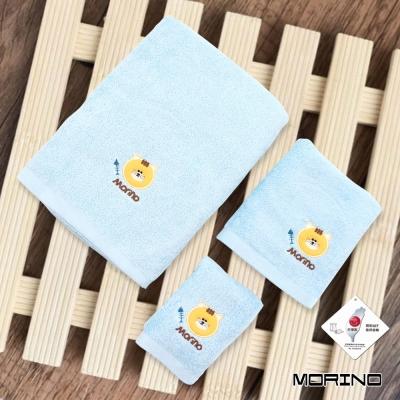 純棉素色動物刺繡方毛浴巾 水藍貓 (超值3條組) MORINO