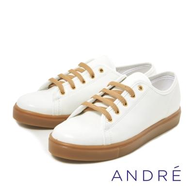 ANDRE-簡約繫帶休閒平底鞋-活力白