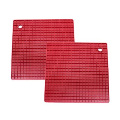 Quasi格紋矽膠隔熱墊-紅-兩入