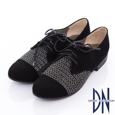 DN 摩登時尚 羊皮雷射沖孔貼鑽綁帶牛津鞋-黑