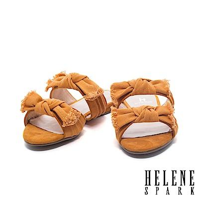 拖鞋 HELENE SPARK 隨性時尚不修邊蝴蝶結雙帶平底拖鞋-黃